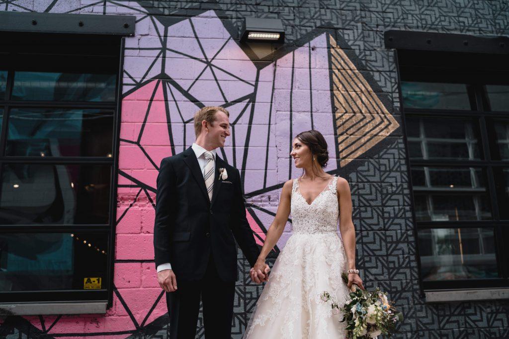 BrewHop Trolley provides transportation for wedding photography backdrops like this Denver Colorado graffiti